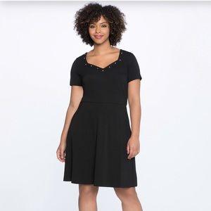 Eloquii A-Line Black Studded Midi Dress Sz 20